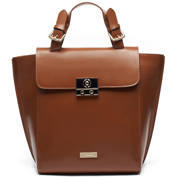 Fashion Design Push Button Switch Cowhide Leather One Direction Bag