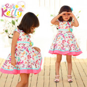 1-5 Year Short Sleeve Colorful Barred Baby Cotton Frocks Designs