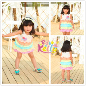 Flower Cotton Frock Design for Baby Girl with Big Bowknot for 1-5 Years