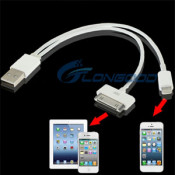 2 in 1 Dual USB Charger Data Sync Cable for iPhone 5 5s Compatible with Ios 7 & iPhone 4S / 4 & iPad