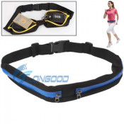 2014 Sports Waterproof Elastic Waist Bag Two Pockets Fanny Pack Zip Pouch for Smartphone