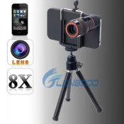 8X Optical Zoom Telescope Camera Lens Kit + Tripod + Case for iPhone 4 4s