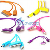 Colorful 3 In1 USB Charging Cable for iPhone 5 4s 4 Samsung HTC 7 Olors with Ios 7