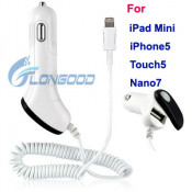 Fast USB Car Charger 8pin Data Cable for Apple iPhone 5, 5g,iPod,Touch 5 Nano 7 (LG-IP5G-079)