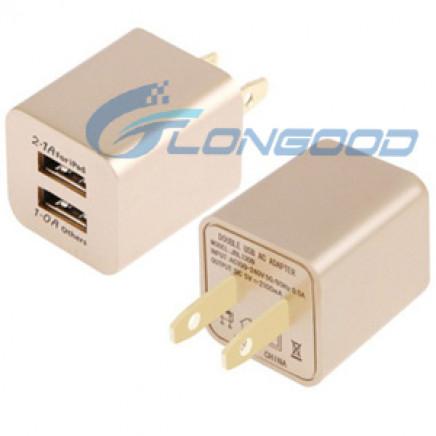 5V 2.1A Us Plug Dual USB Socket AC Charger Adapter for iPhone 5 & 5c & 5s, iPad Air / iPad Mini Retina and So on