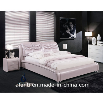 Bedroom Furniture Pink Double Leather Bed for Girls (J308)