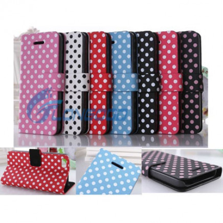 Flip Stand Polka PU Leather Book Case for iPhone 5c
