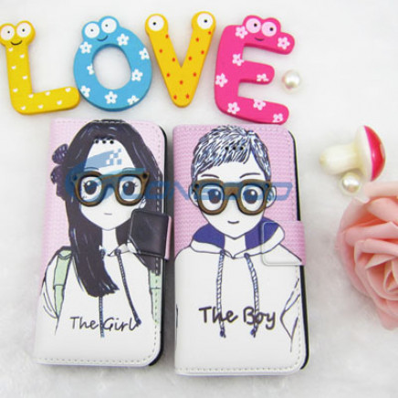 Hot Sale Lovely Glasses Card Slot Flip Wallet Leather Pouch Case for Apple iPhone 5g