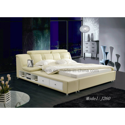 New Design Modern Bed Leather Bedroom/Home Furniture with Storage (J260)