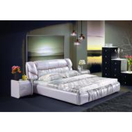 Pink Leather Double Bed (J320-2)
