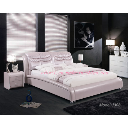 Pinky Modern Leather & Fabric Bed Double Bedroom Furniture (J308)