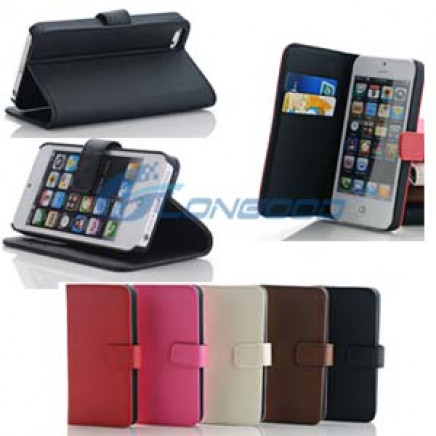 Pure Color Horizontal Flip Button Leather Case with Credit Card Slots & Holder for iPhone 5 5g