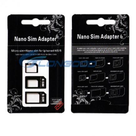 Super 3 in 1 Nano SIM to Micro SIM Card Adapter (IP5G-038)