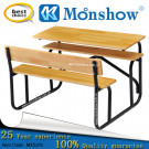2 Person Primary and Middle School Hardwood Timber Desk Furniture