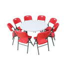 4 Foot Round Plastic Folding Table and Chair Set (SY-122Y)